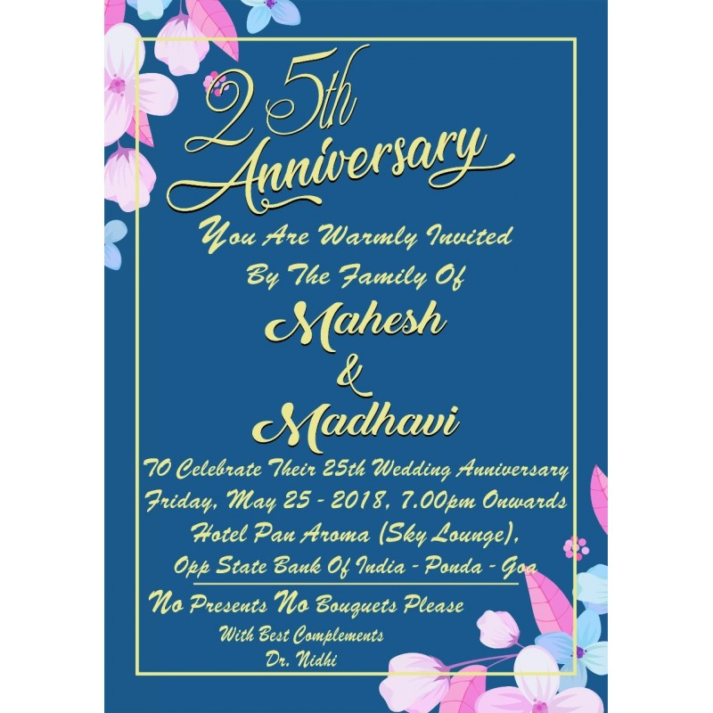 25 Th Anniversary Invitation Card