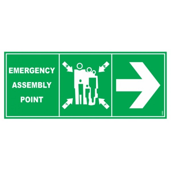 Assembly Point Self Glow Sign Board with Right Arrow