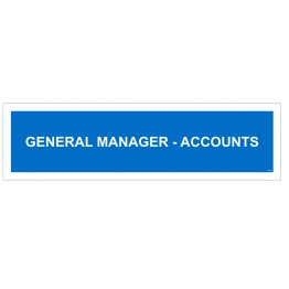 General Manger Account Name plate